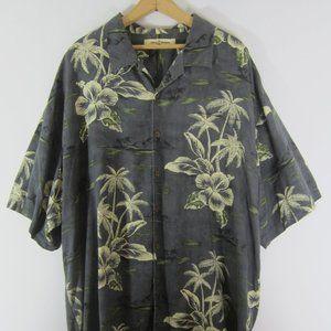 Tommy Bahama 2XL Gray Floral Silk Hawaiian Shirt